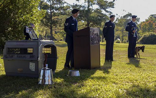The 628th Security Forces Squadron Airmen hold a burial ceremony for military working dog Athos Oct. 24, 2013, at Joint Base Charleston – Air Base, S.C. Athos was born Aug. 1998 and passed away Oct. 2012. Athos served as a explosive detector dog for 11 years. He was returned to JB Charleston to be buried with his fellow military working dogs. (U.S. Air Force photo/ Airman 1st Class Chacarra Neal)
