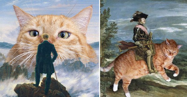 ศิลปินวาดแมวอ้วนขโมยซีนในภาพวาดชื่อดัง จนกลายเป็นภาพเฮฮาเกินกว่าจินตนาการ