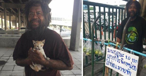 ลุงดำใจดีขายมะนาวนำเงินช่วยเหลือแมวจรจัด จนตอนนี้ดังไกลไปถึงต่างแดนแล้ว