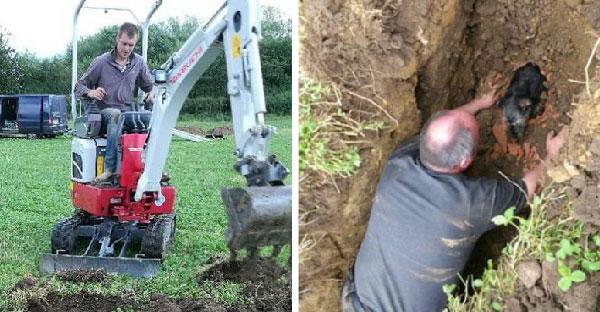 หมาน้อยเล่นซนจนติดบ่อโคลนนานเกือบหนึ่งวัน ทำให้ต้องใช้รถตักดินขุดช่วยเหลือออกมา