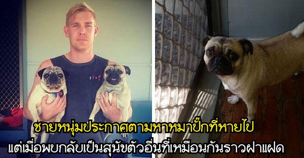 ชายหนุ่มประกาศตามหาหมาปั๊กที่หายไป แต่เมื่อพบกลับเป็นสุนัขตัวอื่นที่เหมือนกันราวฝาแฝด