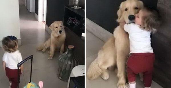 หนูน้อยอ่านใจเจ้าหมาตัวโปรดที่นั่งน้อยใจได้ จึงโผกอดจุ๊บปลอบขวัญให้ยิ้มแก้มปริ