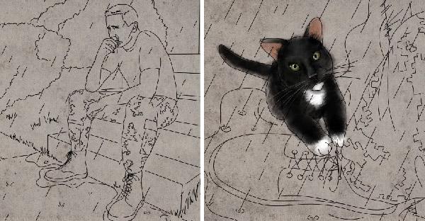 เจ้าแมวดำกระโดดออกจากพุ่มไม้ มาช่วยทหารหนุ่มที่กำลังคิดสั้น ให้ล้มเลิกความตั้งใจได้ในที่สุด