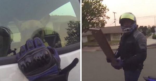 ไบเกอร์หนุ่มพบลูกหมาถูกขังในรถ ทั้งคู่กำลังจะทุบกระจกช่วยเหลือ แต่คดีพลิกประตูไม่ได้ล๊อก