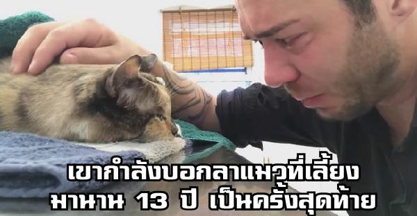 ชายหนุ่มน้ำตาไหลพราก เมื่อเขาต้องบอกลาแมวที่เลี้ยงมานาน 13 ปี