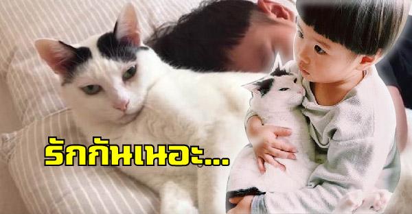 คุณแม่ปลื้มลูกชายกับแมวเหมียวรักกันดี กอดกันตั้งแต่เล็กจนโตจนแยกจากกันแทบไม่ได้