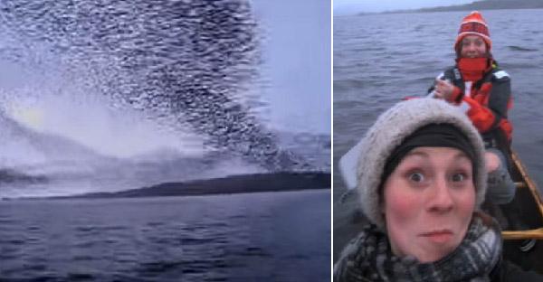 สองสาวพายเรือเล่นในทะเล เจอฝูงนกนับพันบินเหนือหัว เป็นปรากฎการณ์ธรรมชาติที่หาชมยาก