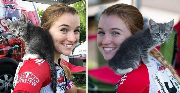 สาวแข่งจักรยานแพ้ แต่ได้รางวัลเป็นลูกแมวมาเลี้ยงปลอบใจแทน