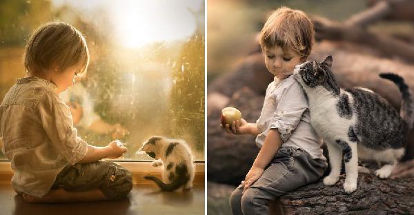 หลายคนอาจคิดว่าแมวเข้ากับเด็กไม่ได้ แต่เธอคนนี้พิสูจน์ให้รู้ด้วยภาพสวยระดับอินเตอร์