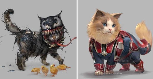 เมื่อซุปเปอร์ฮีโร่ Marvel และ DC อยู่ในร่างแมว จะดูเจ๋งมากน้อยแค่ไหนกัน
