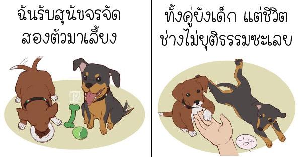 สาววาดภาพเล่าความเศร้าที่สุด ของการรับเลี้ยงลูกหมาจรจัดสองตัว แต่ไม่สามารถเห็นพวกมันเติบโตขึ้นได้