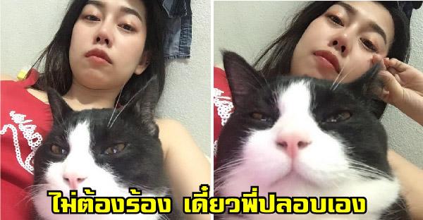 สาวสงสัยแมวชอบปลอบตอนกำลังร้องไห้ หรือว่ามันรู้ว่าเรากำลังเสียใจ