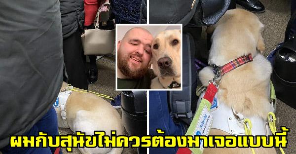 สุนัขนำทางกับหนุ่มตาบอด ต้องยืนบนขึ้นรถไฟ เพราะไม่มีใครสนใจ และลุกให้เขานั่งเลย
