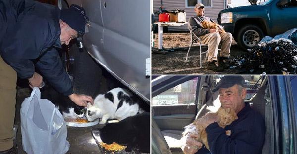 คุณปู่เลี้ยงแมวข้างถนนมานาน 22 ปี ด้วยการเก็บเศษขยะไปขายแลกเงิน